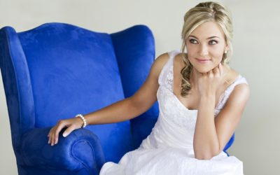 Bridal portrait blue chair