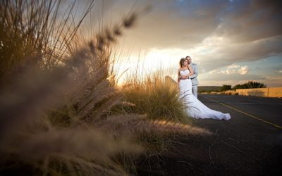 Free State sunset bridal couple