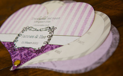 Heart shaped wedding programme